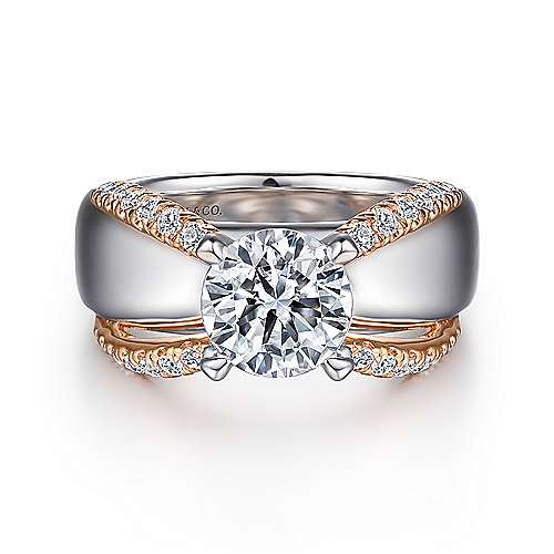 Orleans 14k White And Rose Gold Round Wide Band Engagement Ring