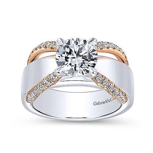 Orleans 18k White And Rose Gold Round Split Shank Engagement Ring