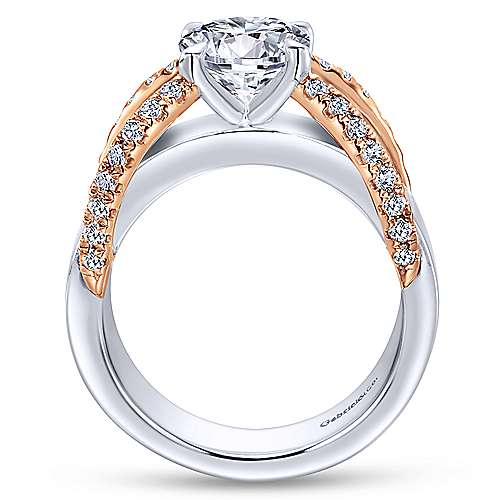 Orleans 18k White And Rose Gold Round Straight Engagement Ring angle 2