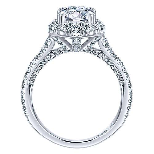 Orville 18k White Gold Round Halo Engagement Ring angle 2