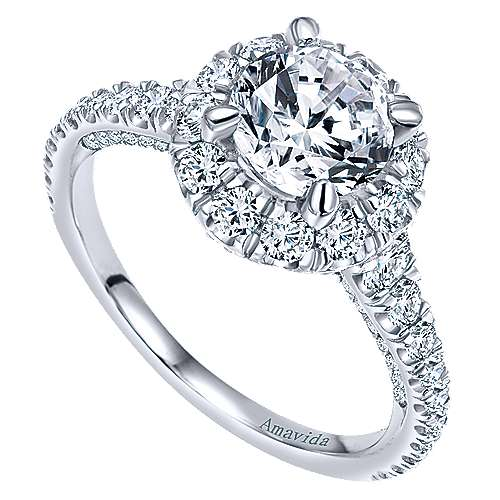 Orville 18k White Gold Round Halo Engagement Ring angle 3