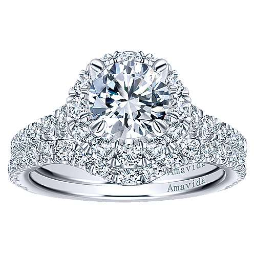 Orville 18k White Gold Round Halo Engagement Ring angle 4
