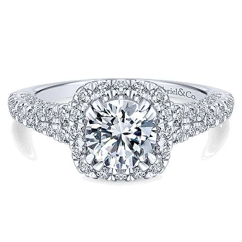 Gabriel - Osaka 14k White Gold Round Halo Engagement Ring