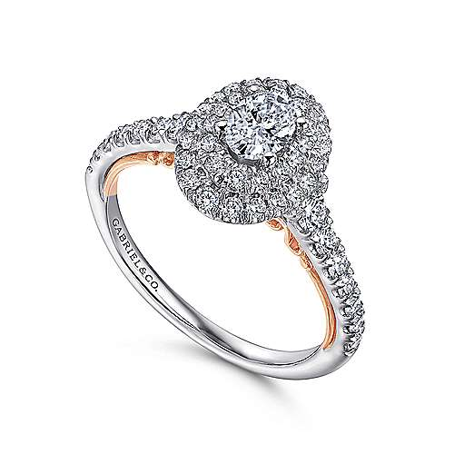 Oslo 14k White And Rose Gold Oval Double Halo Engagement Ring angle 3