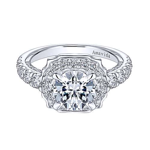 Gabriel - Otis 18k White Gold Round Halo Engagement Ring
