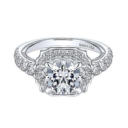 Otis 18k White Gold Round Halo Engagement Ring angle 1