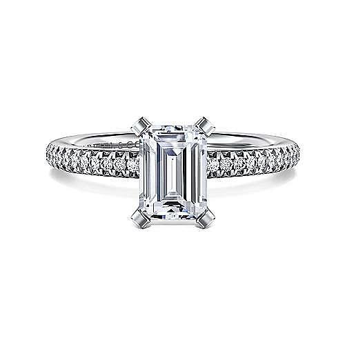 Gabriel - Oyin 14k White Gold Emerald Cut Straight Engagement Ring