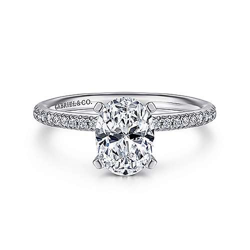 Gabriel - Oyin 14k White Gold Oval Straight Engagement Ring