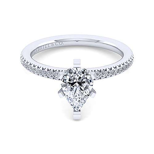 Gabriel - Oyin 14k White Gold Pear Shape Straight Engagement Ring