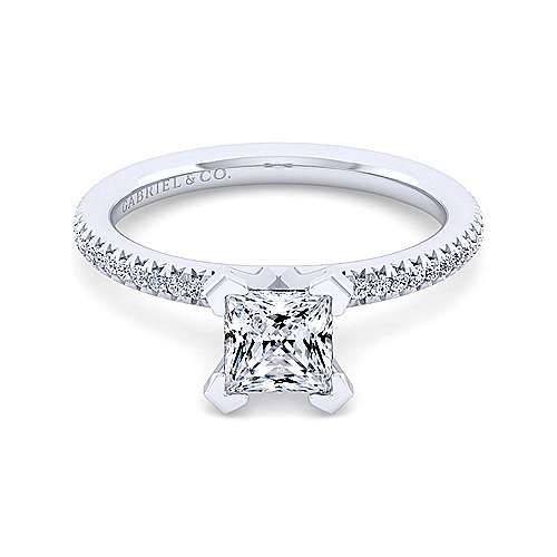 Gabriel - Oyin 14k White Gold Princess Cut Straight Engagement Ring