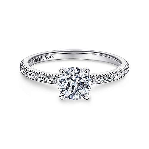 Oyin 14k White Gold Round Straight Engagement Ring angle 1