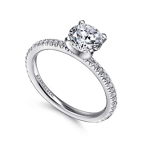 Oyin 14k White Gold Round Straight Engagement Ring angle 3