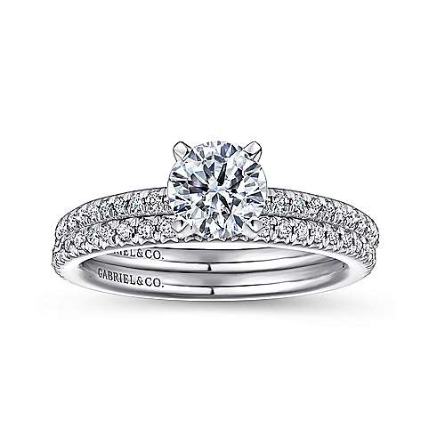 Oyin 14k White Gold Round Straight Engagement Ring angle 4