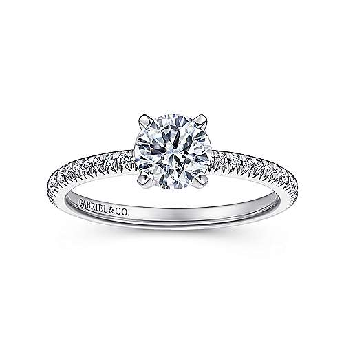 Oyin 14k White Gold Round Straight Engagement Ring angle 5