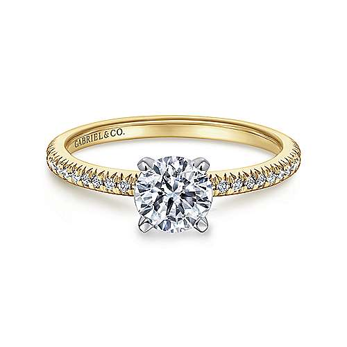 Gabriel - Oyin 14k Yellow And White Gold Round Straight Engagement Ring