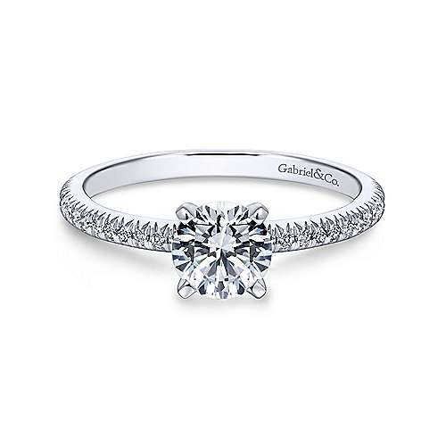 Gabriel - Oyin 18k White Gold Round Straight Engagement Ring