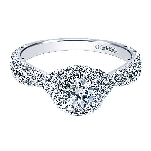 Gabriel - Palila 14k White Gold Round Halo Engagement Ring