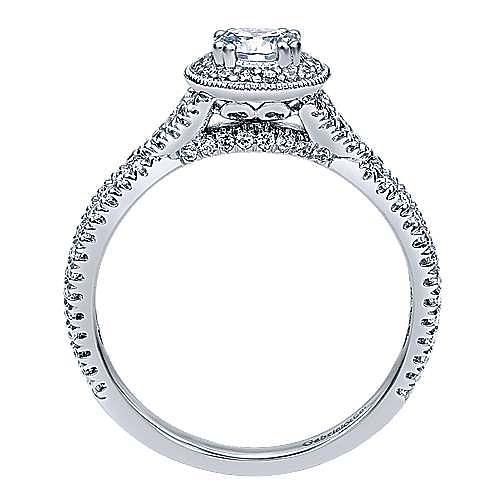 Palila 14k White Gold Round Halo Engagement Ring angle 2
