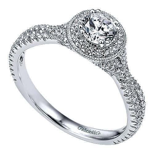 Palila 14k White Gold Round Halo Engagement Ring angle 3