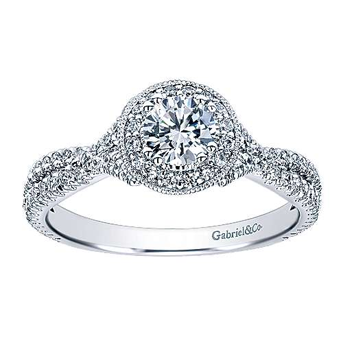 Palila 14k White Gold Round Halo Engagement Ring angle 5
