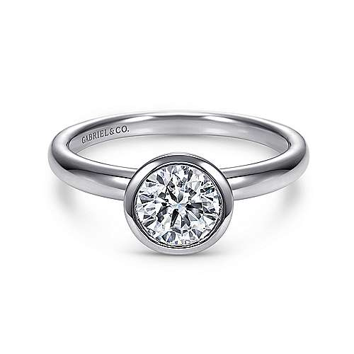 Palmer 14k White Gold Round Solitaire Engagement Ring angle 1