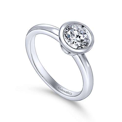Palmer 14k White Gold Round Solitaire Engagement Ring angle 3