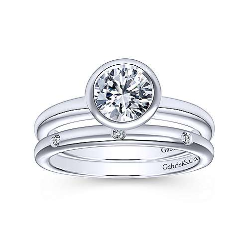 Palmer 14k White Gold Round Solitaire Engagement Ring angle 4