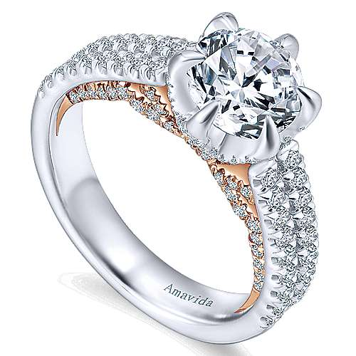 Paloma 18k White And Rose Gold Round Straight Engagement Ring angle 3