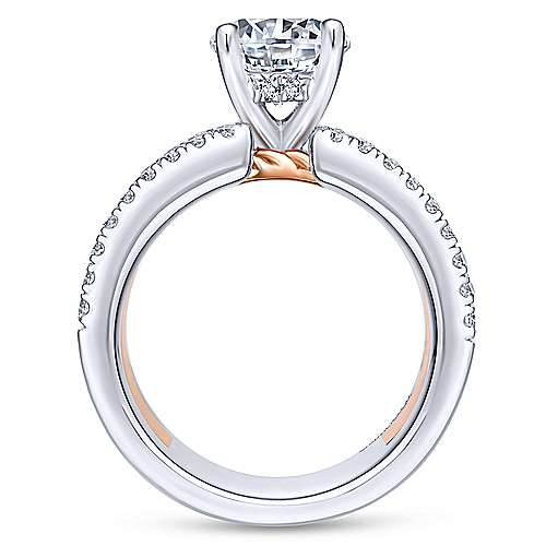 Paradise 18k White And Rose Gold Round Straight Engagement Ring angle 2