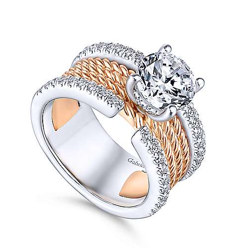 Paradise 18k White And Rose Gold Round Straight Engagement Ring angle 3