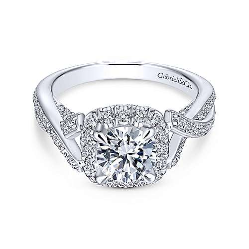 Paris 14k White Gold Round Halo Engagement Ring angle 1