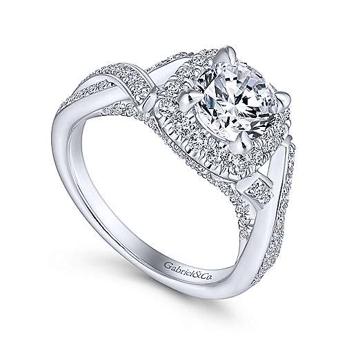 Paris 14k White Gold Round Halo Engagement Ring angle 3