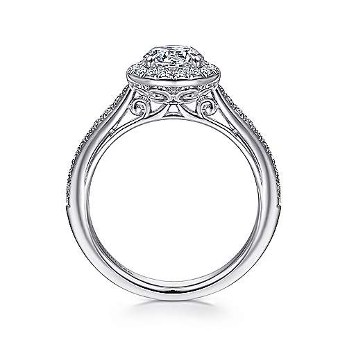 Passion 18k White Gold Round Halo Engagement Ring angle 2