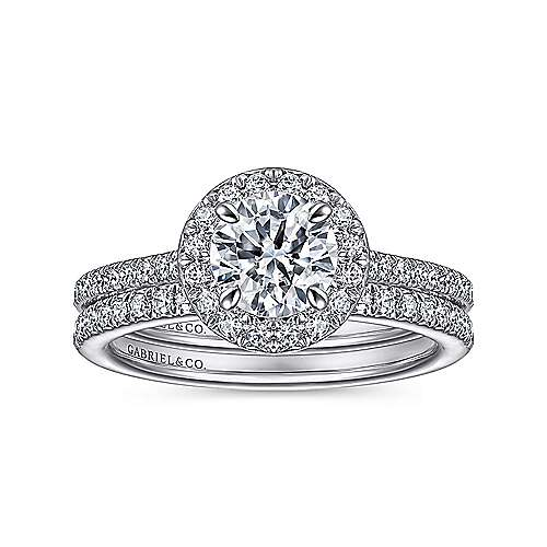 Passion 18k White Gold Round Halo Engagement Ring angle 4