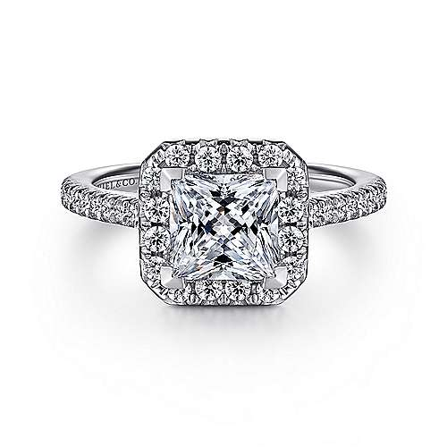 Gabriel - Patience 14k White Gold Princess Cut Halo Engagement Ring