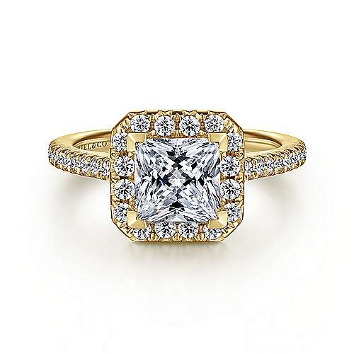 Gabriel - Patience 14k Yellow Gold Princess Cut Halo Engagement Ring