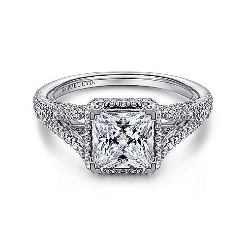 Paula 18k White Gold Princess Cut Halo Engagement Ring