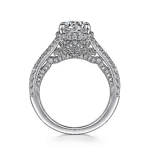 Paula 18k White Gold Round Halo Engagement Ring angle 2