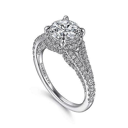 Paula 18k White Gold Round Halo Engagement Ring angle 3