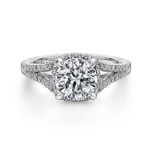 Paula 18k White Gold Round Halo Engagement Ring angle 1