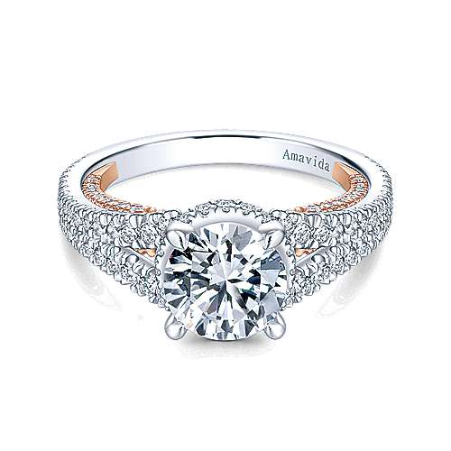 Paulina 18k White And Rose Gold Round Halo Engagement Ring
