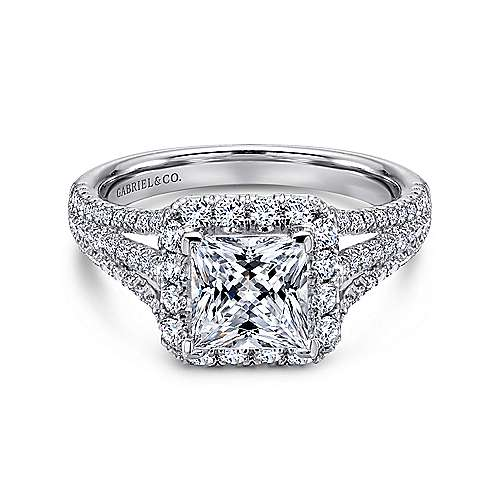 Gabriel - Paz 18k White Gold Princess Cut Halo Engagement Ring