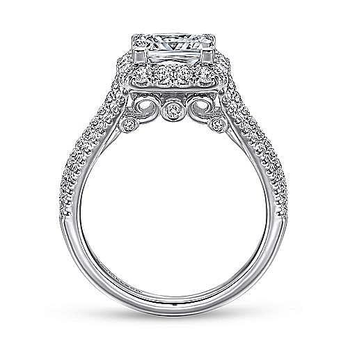Paz 18k White Gold Princess Cut Halo Engagement Ring angle 2
