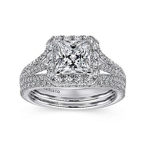 Paz 18k White Gold Princess Cut Halo Engagement Ring angle 4