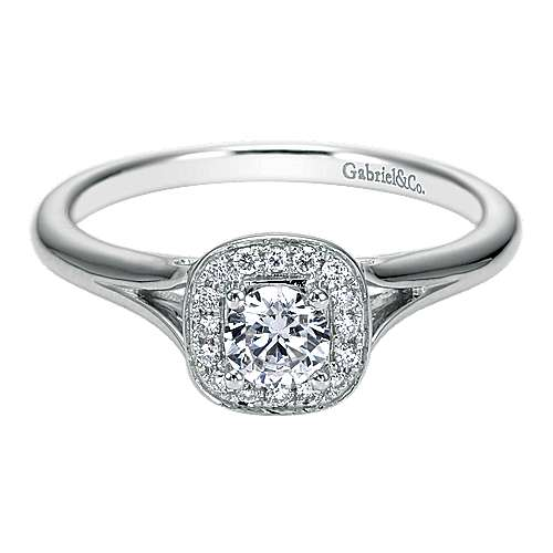 Gabriel - Peak 14k White Gold Round Halo Engagement Ring