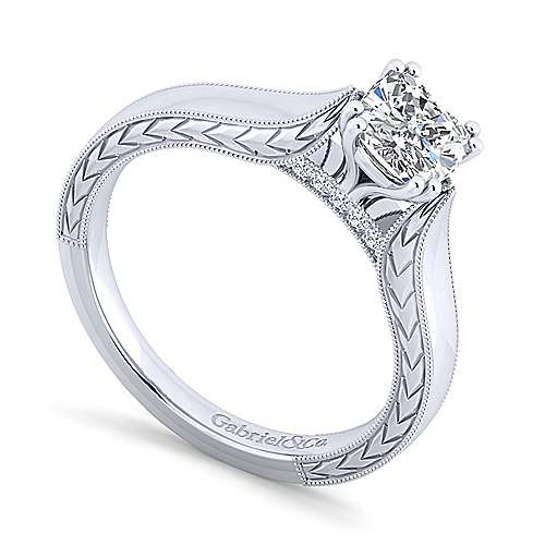 Penelope 14k White Gold Cushion Cut Solitaire Engagement Ring angle 3