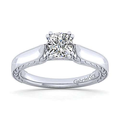 Penelope 14k White Gold Cushion Cut Solitaire Engagement Ring angle 5