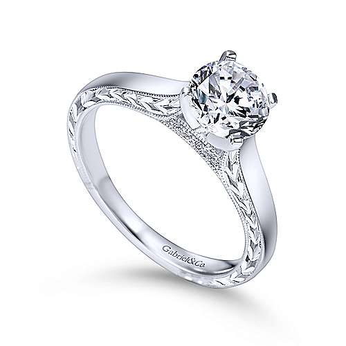 Penelope 14k White Gold Round Solitaire Engagement Ring angle 3