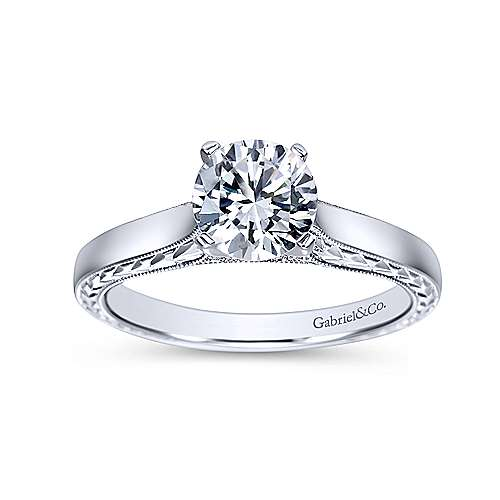 Penelope 14k White Gold Round Solitaire Engagement Ring angle 5