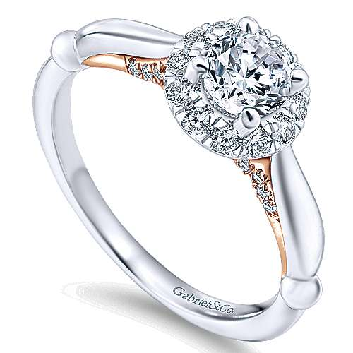 Penny 14k White And Rose Gold Round Halo Engagement Ring angle 3